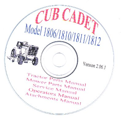 cub cadet model 1810 service parts oper manuals attachments cd. Black Bedroom Furniture Sets. Home Design Ideas